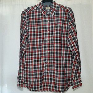 J Crew Secret Wash shirt black red tartan sz M